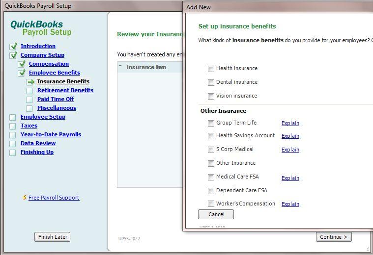 Intuit Payroll Set-Up Screen