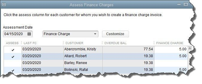 Figure 2: You'll determine who should have finance charge invoices created in the Assess Finance Charges window.