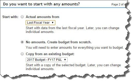 You can choose from these three options to create your budget in QuickBooks Online Plus.