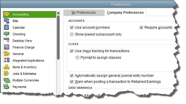 This is the screen you'll see when you go to Edit | Preferences in QuickBooks.