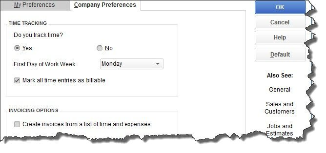 The Time & Expenses window in QuickBooks' Preferences