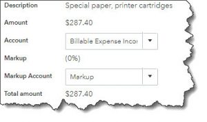 image of billable expense transaction in QuickBooks Online Huntsville AL QuickBooks